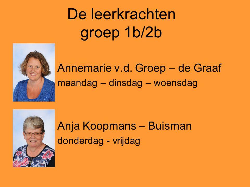 De leerkrachten groep 1b/2b Annemarie v.d. Groep – de Graaf maandag – dinsdag – woensdag Anja Koopmans – Buisman donderdag - vrijdag