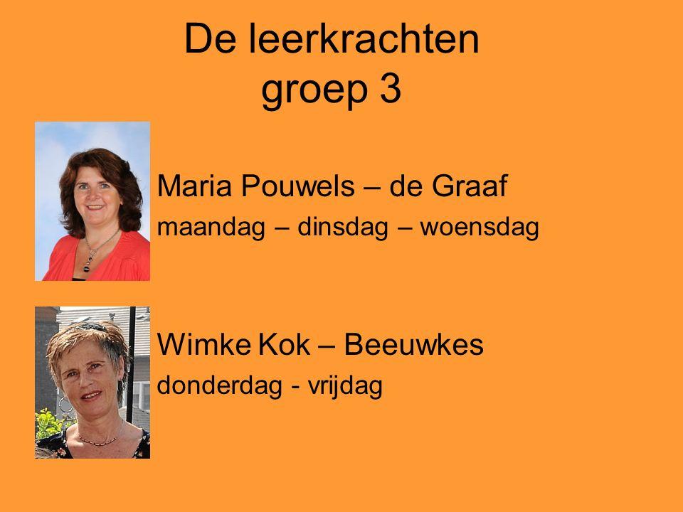 De leerkrachten groep 3 Maria Pouwels – de Graaf maandag – dinsdag – woensdag Wimke Kok – Beeuwkes donderdag - vrijdag