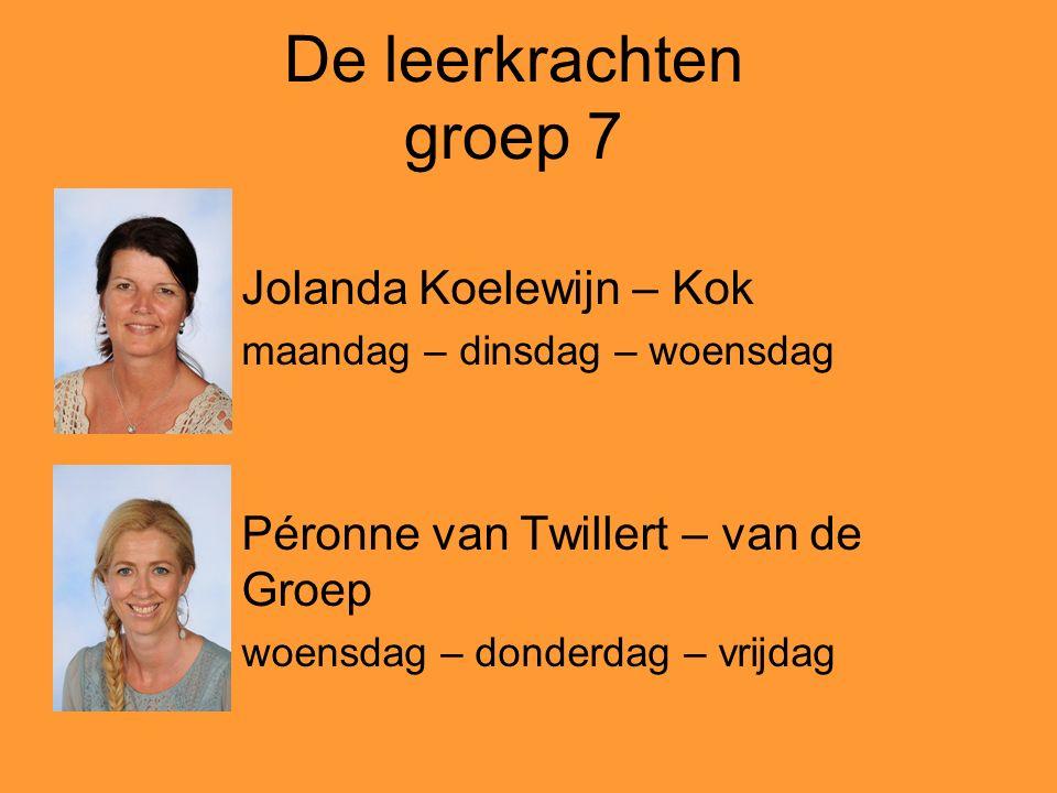 De leerkrachten groep 8 Roelien Hagebeuk – Zwaan maandag - vrijdag Jacozien Hartog – Bos dinsdag – woensdag - donderdag