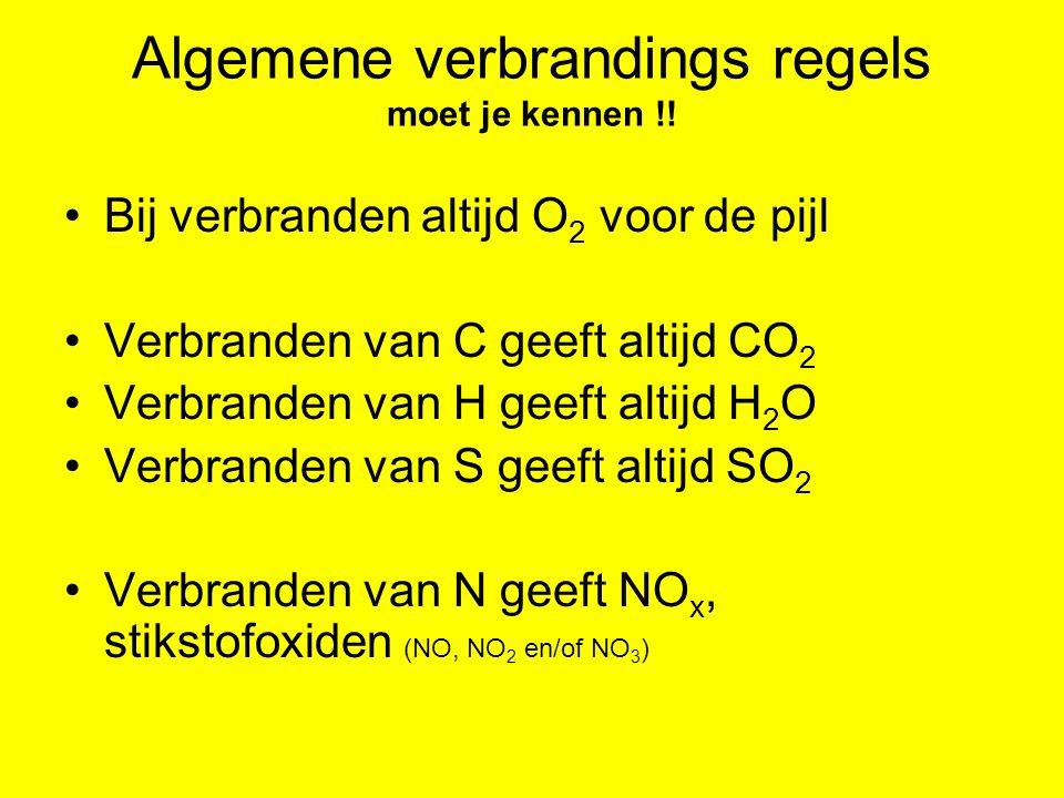 Verbranden van methaan CH 4 (g) + 2 O 2 (g)  CO 2 (g) + 2 H 2 O (l) Verbranden, dus O 2 voor de pijl In methaan zit een 'C' dus ontstaat CO 2 In methaan zit een 'H' dus ontstaat H 2 O