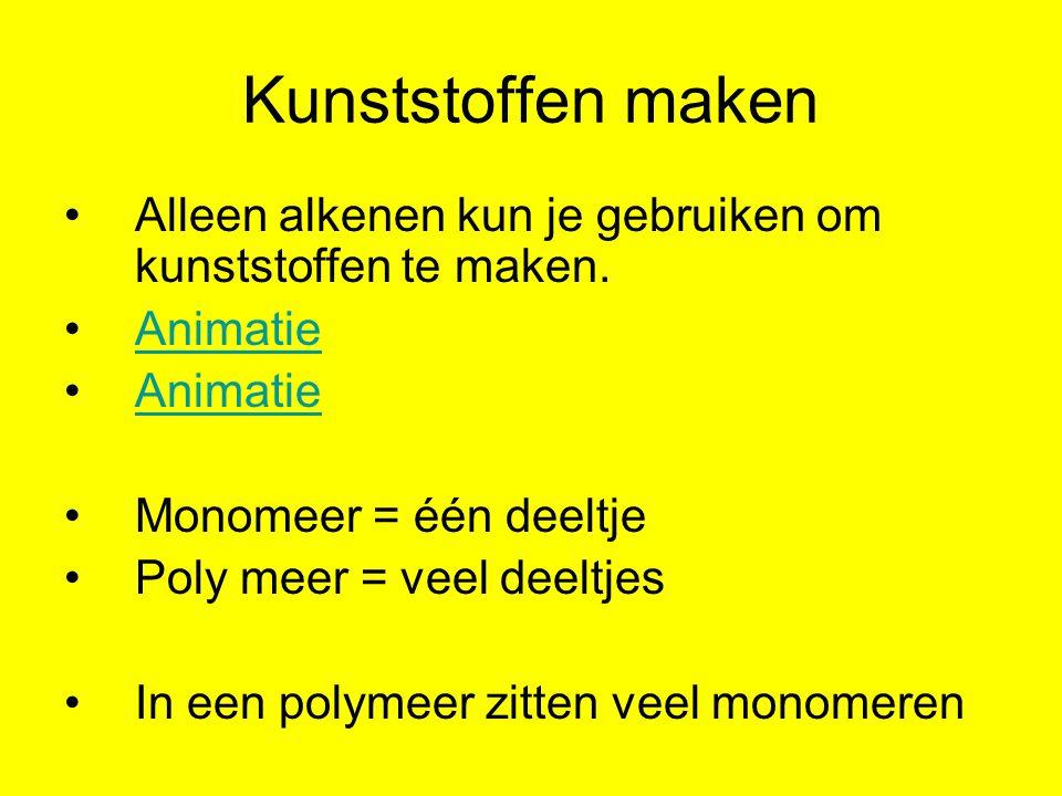 Polymeer maken In woorden: Monomeer = chlooretheen Polymeer = poly chlooretheen Monomeer = dibroompropeen Polymeer = poly dibroompropeen