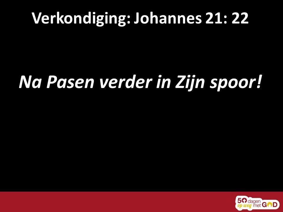 Verkondiging: Johannes 21: 22 Na Pasen verder in Zijn spoor!
