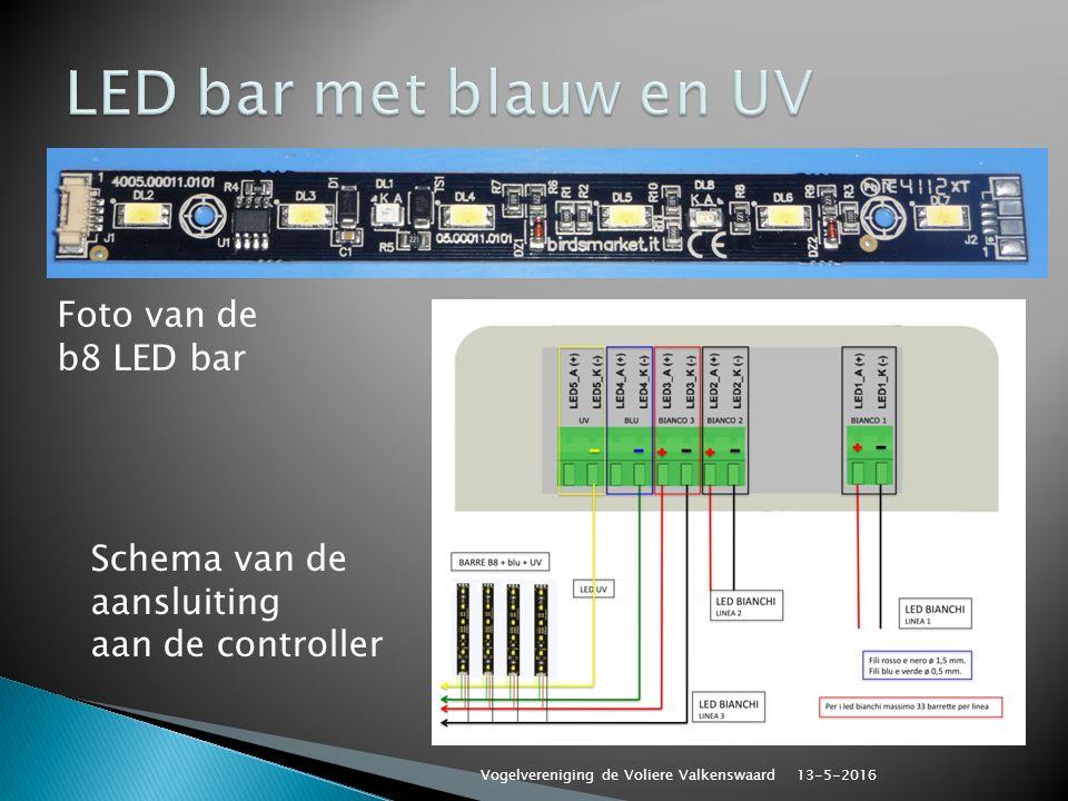 Schema van de aansluiting aan de controller Foto van de b8 LED bar 13-5-2016 Vogelvereniging de Voliere Valkenswaard