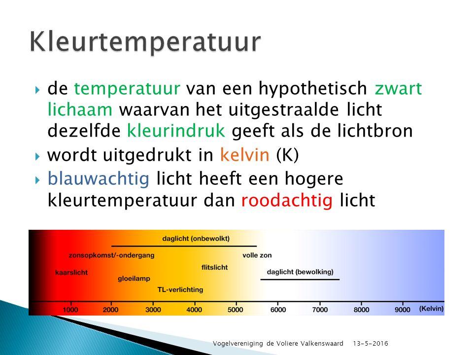  de temperatuur van een hypothetisch zwart lichaam waarvan het uitgestraalde licht dezelfde kleurindruk geeft als de lichtbron  wordt uitgedrukt in kelvin (K)  blauwachtig licht heeft een hogere kleurtemperatuur dan roodachtig licht 13-5-2016 Vogelvereniging de Voliere Valkenswaard