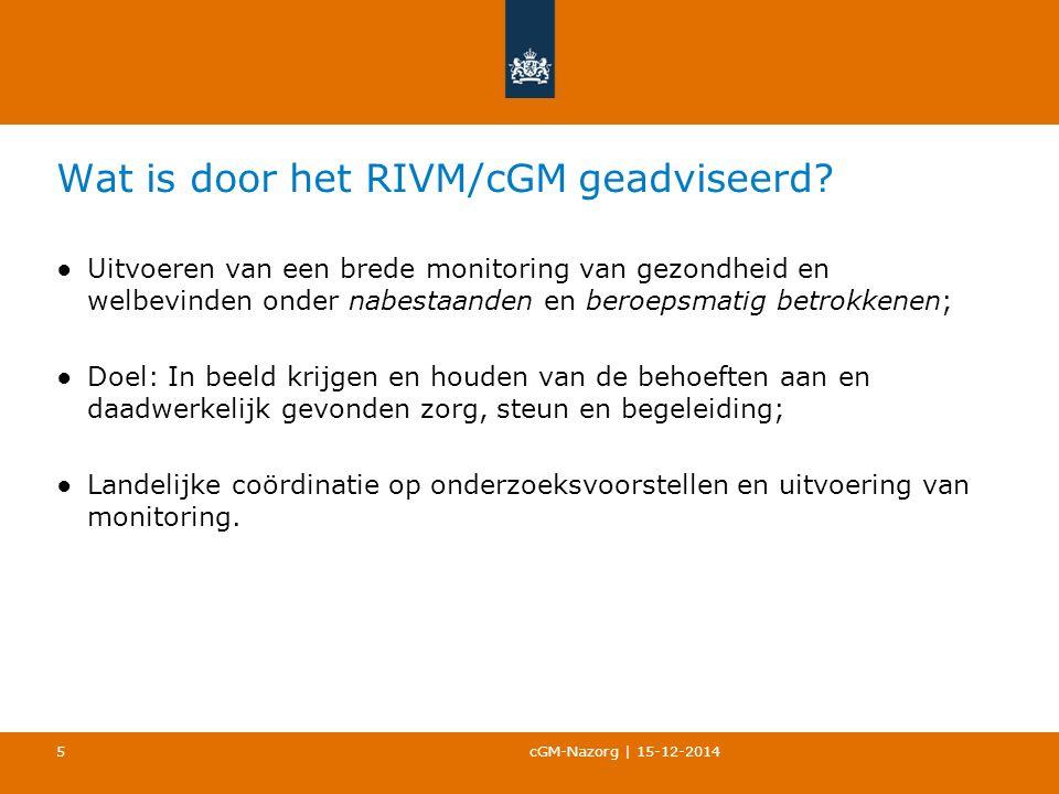 Wat is door het RIVM/cGM geadviseerd.
