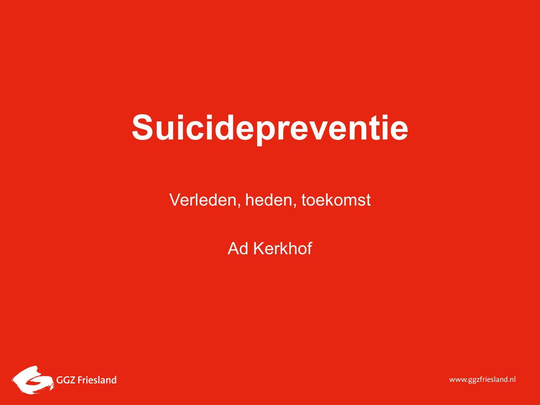 Suicidepreventie, toen: tot aan 1970 Medisch-psychiatrische benadering:Medisch-psychiatrische benadering: Suicide is het gevolg van psychiatrische ziekten Een zaak van psychiaters Psychologisch – psychiatrische benadering:Psychologisch – psychiatrische benadering: Suicide is gevolg van persoonlijkheid / karakterstructuur / levensgebeurtenissen Een zaak van psychologen en psychiaters Statistisch sociologische benadering:Statistisch sociologische benadering: Suicide wordt beïnvloed door maatschappelijke processen Een zaak voor de samenleving