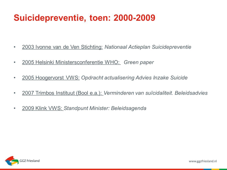 Suicidepreventie, toen: 2000-2009 2003 Ivonne van de Ven Stichting: Nationaal Actieplan Suicidepreventie 2005 Helsinki Ministersconferentie WHO: Green