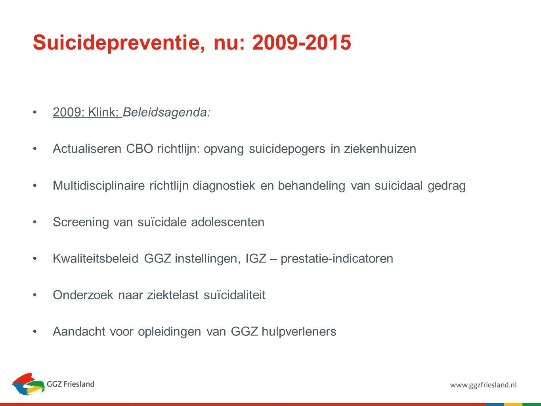 Suicidepreventie, nu: 2009-2015 2009: Klink: Beleidsagenda: Actualiseren CBO richtlijn: opvang suicidepogers in ziekenhuizen Multidisciplinaire richtlijn diagnostiek en behandeling van suicidaal gedrag Screening van suïcidale adolescenten Kwaliteitsbeleid GGZ instellingen, IGZ – prestatie-indicatoren Onderzoek naar ziektelast suïcidaliteit Aandacht voor opleidingen van GGZ hulpverleners