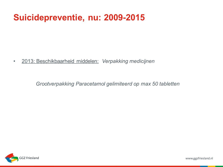 Suicidepreventie, nu: 2009-2015 2013: Beschikbaarheid middelen: Verpakking medicijnen Grootverpakking Paracetamol gelimiteerd op max 50 tabletten
