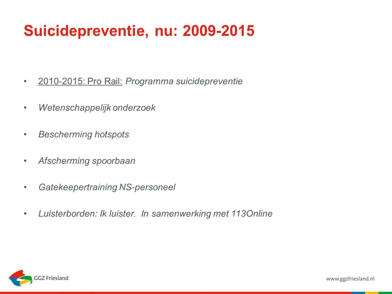 Suicidepreventie, nu: 2009-2015 2010-2015: Pro Rail: Programma suicidepreventie Wetenschappelijk onderzoek Bescherming hotspots Afscherming spoorbaan