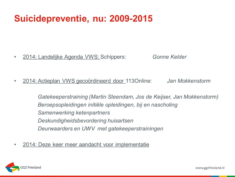 Suicidepreventie, nu: 2009-2015 2014: Landelijke Agenda VWS: Schippers: Gonne Kelder 2014: Actieplan VWS gecoördineerd door 113Online: Jan Mokkenstorm