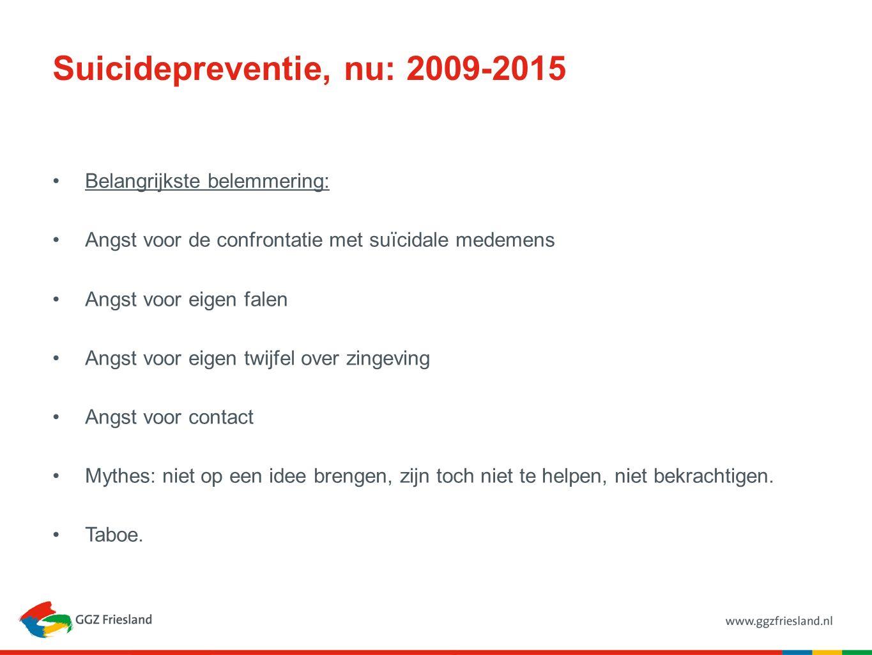 Suicidepreventie, nu: 2009-2015 Belangrijkste belemmering: Angst voor de confrontatie met suïcidale medemens Angst voor eigen falen Angst voor eigen t