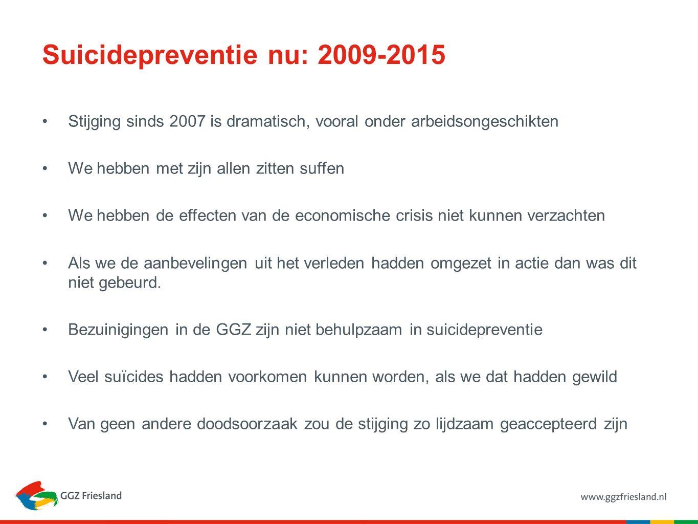 Suicidepreventie nu: 2009-2015 Stijging sinds 2007 is dramatisch, vooral onder arbeidsongeschikten We hebben met zijn allen zitten suffen We hebben de