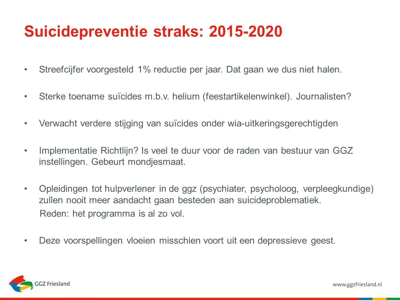 Suicidepreventie straks: 2015-2020 Streefcijfer voorgesteld 1% reductie per jaar. Dat gaan we dus niet halen. Sterke toename suïcides m.b.v. helium (f