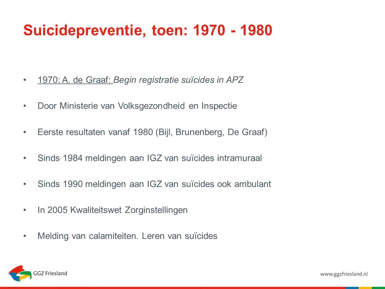 Suicidepreventie, toen: 1980 - 1990 1986: Gezondheidsraad: Advies inzake Suicide (aan WVC) Gericht onderzoek: nationaal onderzoeksprogramma Verbeteren van hulpverlening: kennis en vaardigheden (m.n.