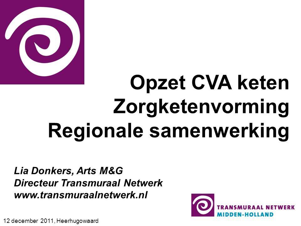 Opzet CVA keten Zorgketenvorming Regionale samenwerking 12 december 2011, Heerhugowaard Lia Donkers, Arts M&G Directeur Transmuraal Netwerk www.transmuraalnetwerk.nl