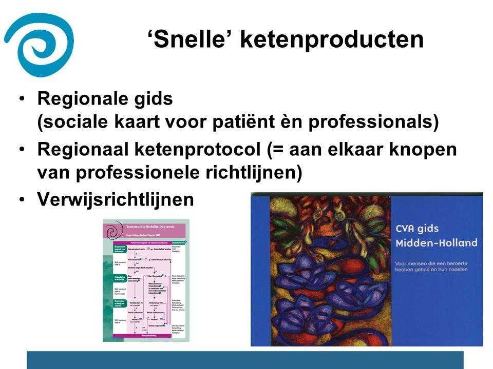 'Snelle' ketenproducten Regionale gids (sociale kaart voor patiënt èn professionals) Regionaal ketenprotocol (= aan elkaar knopen van professionele richtlijnen) Verwijsrichtlijnen