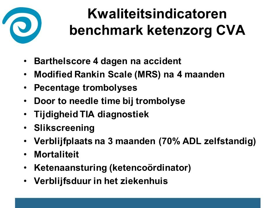 Kwaliteitsindicatoren benchmark ketenzorg CVA Barthelscore 4 dagen na accident Modified Rankin Scale (MRS) na 4 maanden Pecentage trombolyses Door to