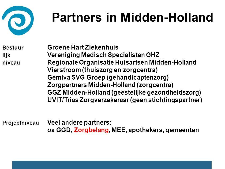 Partners in Midden-Holland Bestuur Groene Hart Ziekenhuis lijk Vereniging Medisch Specialisten GHZ niveau Regionale Organisatie Huisartsen Midden-Holland Vierstroom (thuiszorg en zorgcentra) Gemiva SVG Groep (gehandicaptenzorg) Zorgpartners Midden-Holland (zorgcentra) GGZ Midden-Holland (geestelijke gezondheidszorg) UVIT/Trias Zorgverzekeraar (geen stichtingspartner) Projectniveau Veel andere partners: oa GGD, Zorgbelang, MEE, apothekers, gemeenten