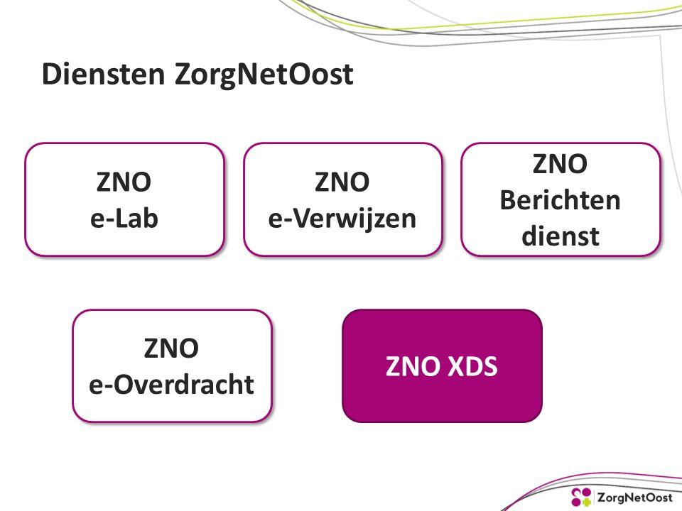Diensten ZorgNetOost ZNO e-Lab ZNO e-Lab ZNO e-Overdracht ZNO e-Verwijzen ZNO XDS ZNO Berichten dienst ZNO Berichten dienst