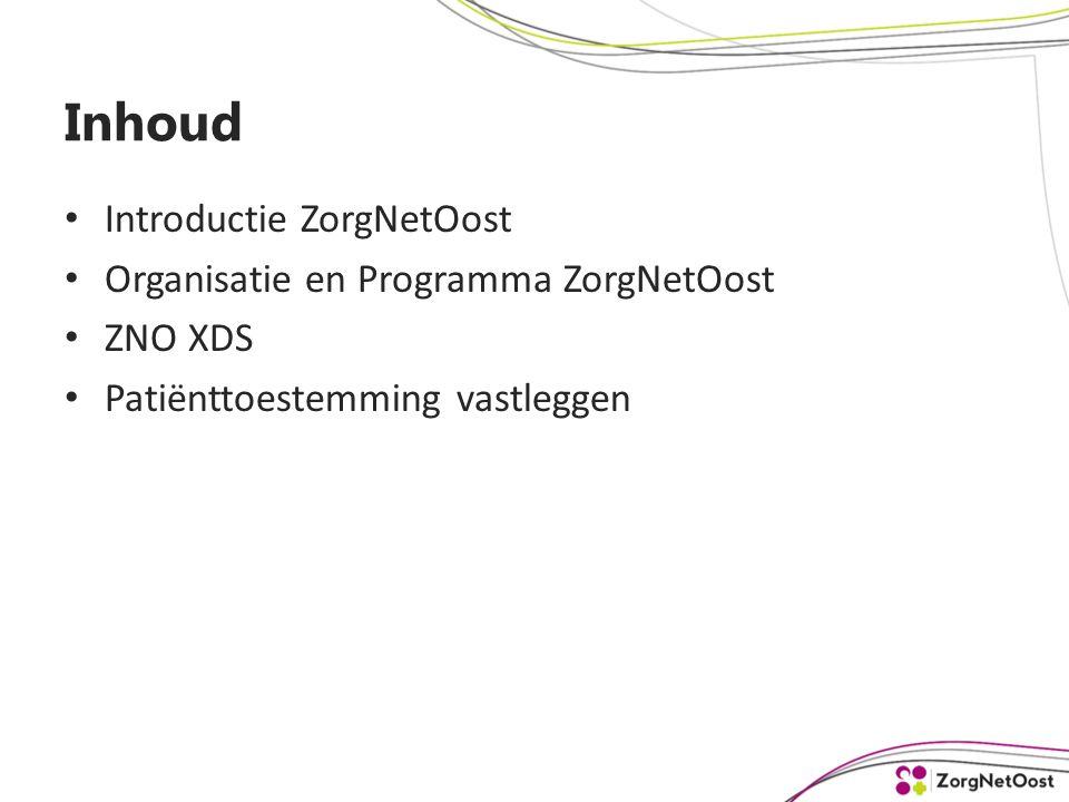 Inhoud Introductie ZorgNetOost Organisatie en Programma ZorgNetOost ZNO XDS Patiënttoestemming vastleggen