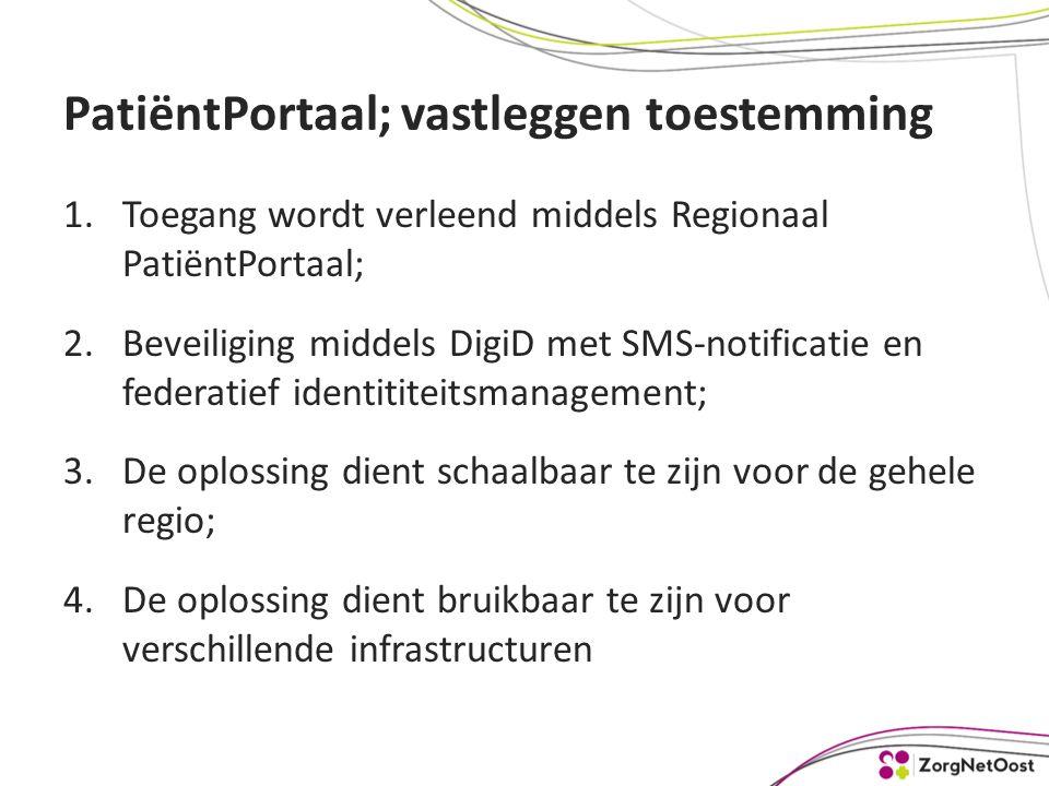 PatiëntPortaal; vastleggen toestemming 1.Toegang wordt verleend middels Regionaal PatiëntPortaal; 2.Beveiliging middels DigiD met SMS-notificatie en federatief identititeitsmanagement; 3.De oplossing dient schaalbaar te zijn voor de gehele regio; 4.De oplossing dient bruikbaar te zijn voor verschillende infrastructuren