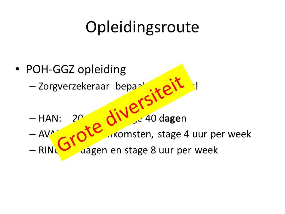 Opleidingsroute POH-GGZ opleiding – Zorgverzekeraar bepaalt noodzaak.