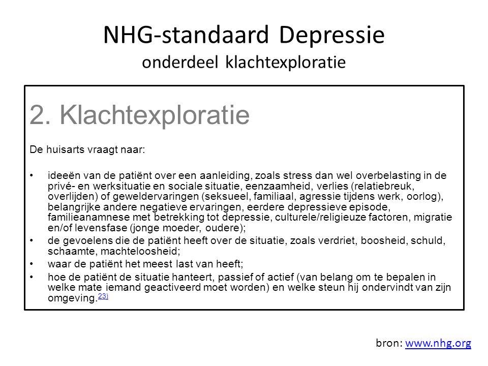 NHG-standaard Depressie onderdeel klachtexploratie 2.