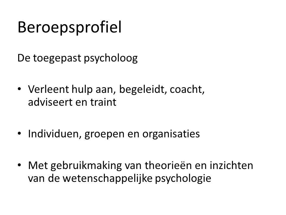 Beroepsprofiel De toegepast psycholoog Verleent hulp aan, begeleidt, coacht, adviseert en traint Individuen, groepen en organisaties Met gebruikmaking van theorieën en inzichten van de wetenschappelijke psychologie
