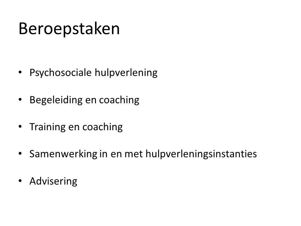Beroepstaken Psychosociale hulpverlening Begeleiding en coaching Training en coaching Samenwerking in en met hulpverleningsinstanties Advisering