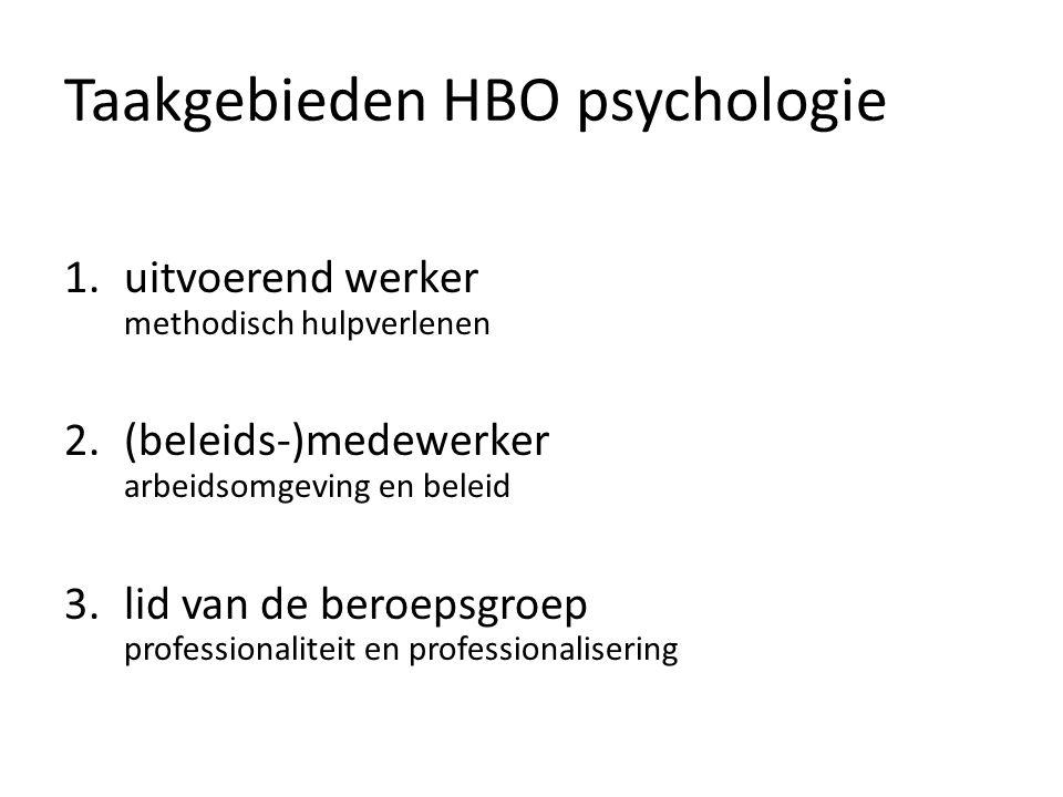 Taakgebieden HBO psychologie 1.uitvoerend werker methodisch hulpverlenen 2.(beleids-)medewerker arbeidsomgeving en beleid 3.lid van de beroepsgroep professionaliteit en professionalisering