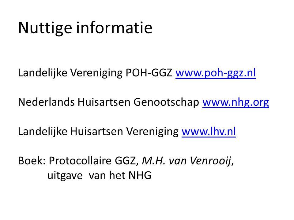 Nuttige informatie Landelijke Vereniging POH-GGZ www.poh-ggz.nlwww.poh-ggz.nl Nederlands Huisartsen Genootschap www.nhg.orgwww.nhg.org Landelijke Huisartsen Vereniging www.lhv.nlwww.lhv.nl Boek: Protocollaire GGZ, M.H.