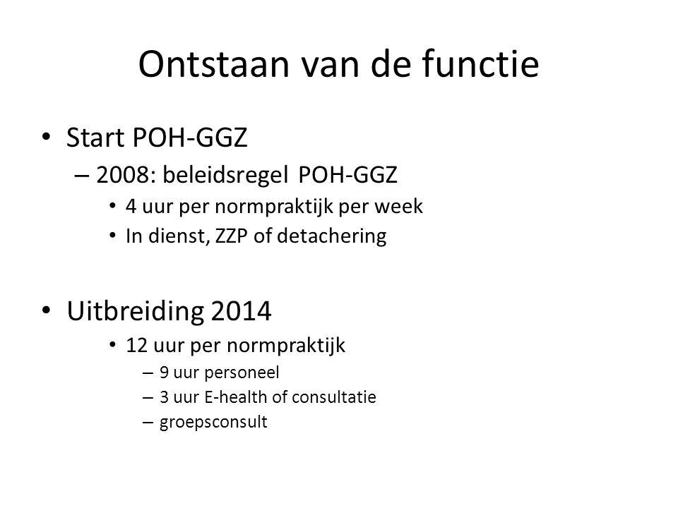 Ontstaan van de functie Start POH-GGZ – 2008: beleidsregel POH-GGZ 4 uur per normpraktijk per week In dienst, ZZP of detachering Uitbreiding 2014 12 uur per normpraktijk – 9 uur personeel – 3 uur E-health of consultatie – groepsconsult
