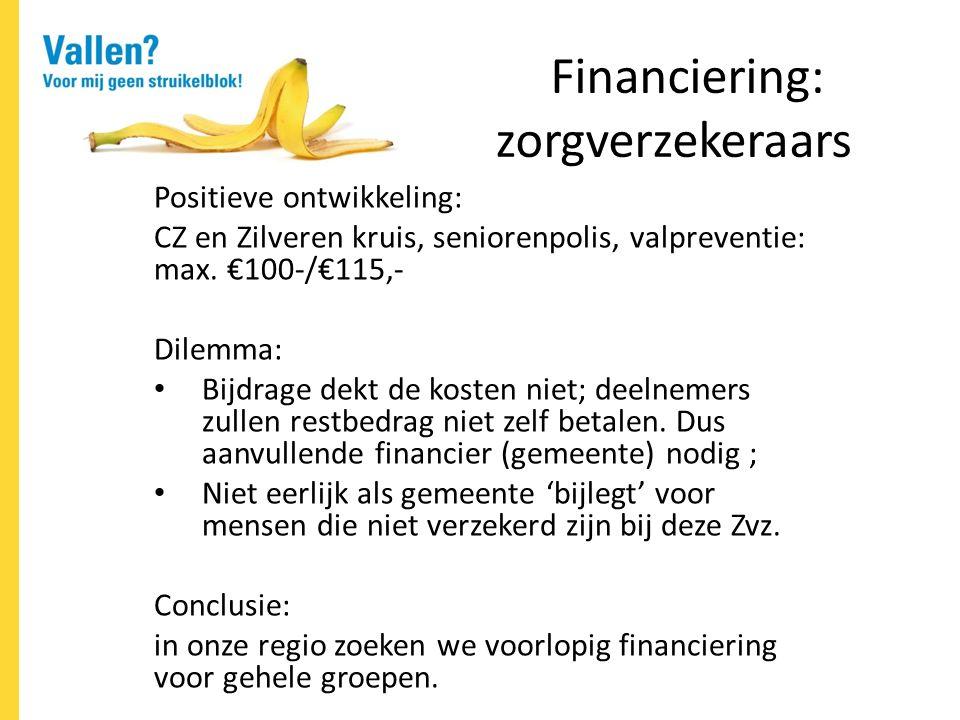 Financiering: zorgverzekeraars Positieve ontwikkeling: CZ en Zilveren kruis, seniorenpolis, valpreventie: max.