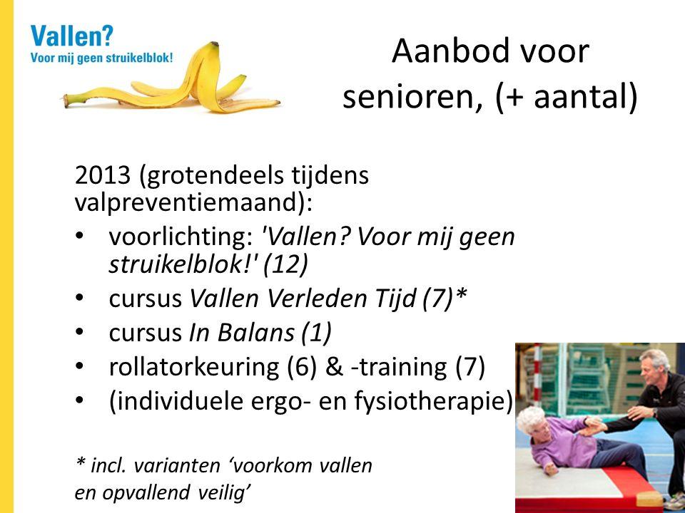 Aanbod voor senioren, (+ aantal) 2013 (grotendeels tijdens valpreventiemaand): voorlichting: Vallen.