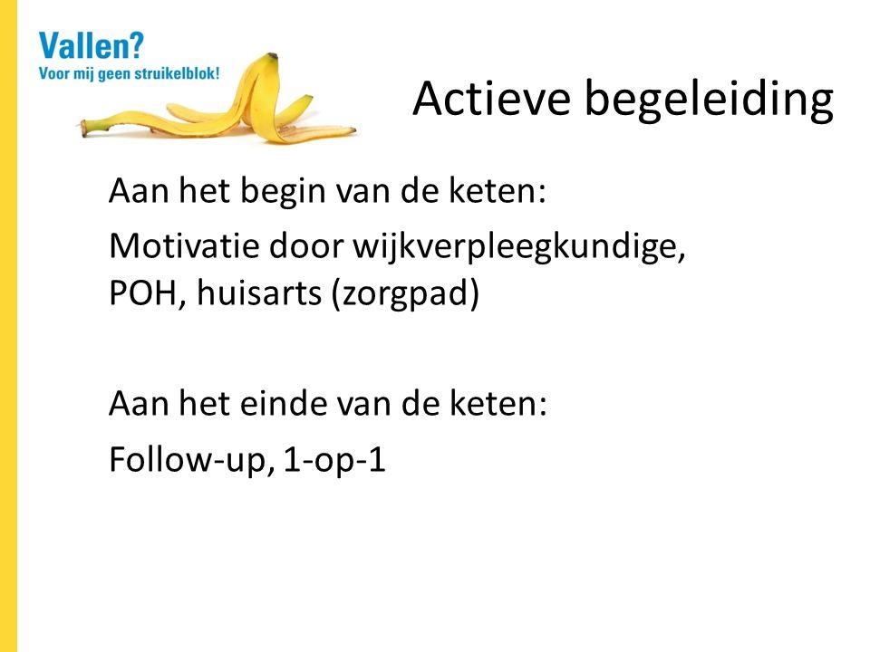 Actieve begeleiding Aan het begin van de keten: Motivatie door wijkverpleegkundige, POH, huisarts (zorgpad) Aan het einde van de keten: Follow-up, 1-op-1