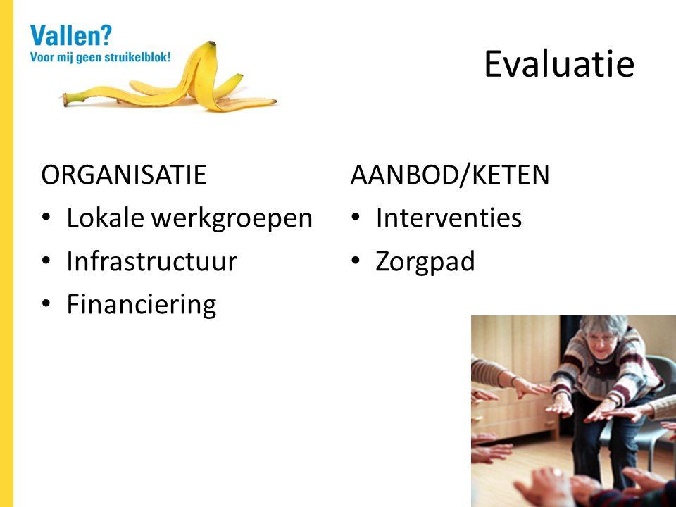 Evaluatie ORGANISATIE Lokale werkgroepen Infrastructuur Financiering AANBOD/KETEN Interventies Zorgpad