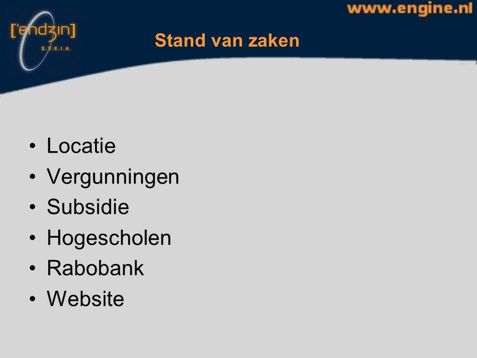 Stand van zaken Locatie Vergunningen Subsidie Hogescholen Rabobank Website