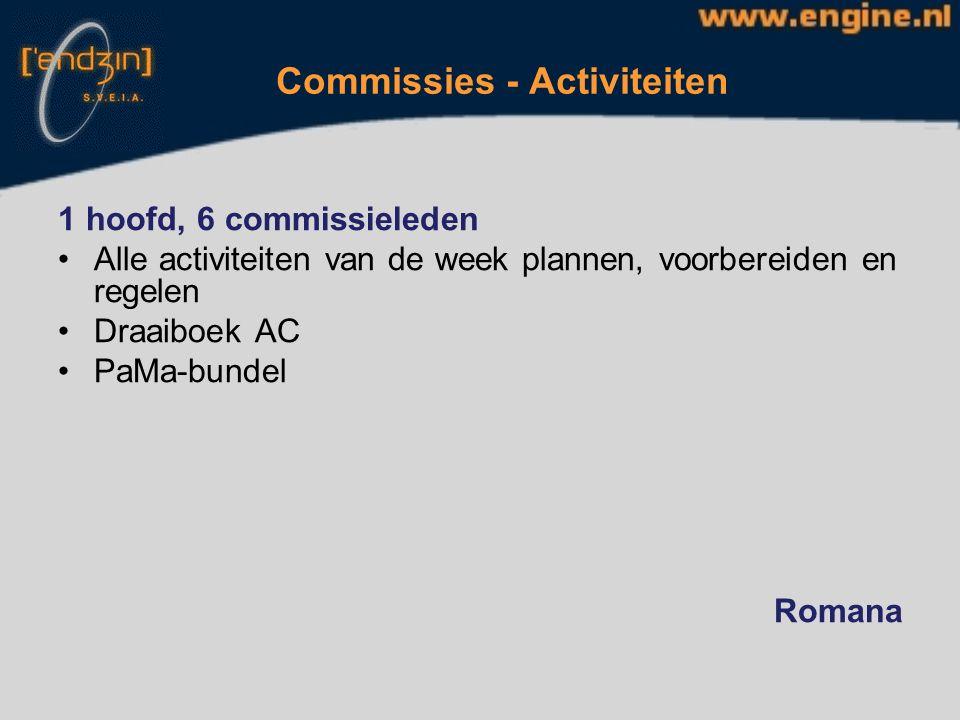 Commissies - Bar 1 hoofd, 8 commissieleden.