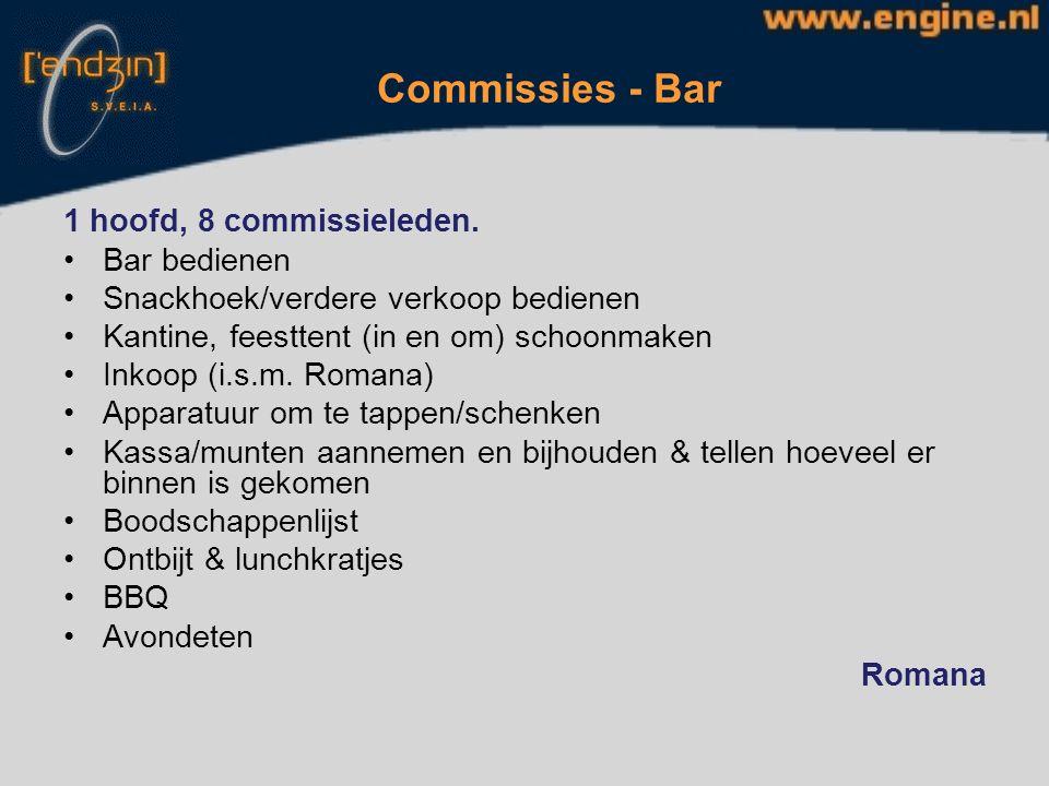 Commissies – Audio / Video 1 hoofd, 4 commissieleden Voorbereiding MOLactie Appel Foto's DVD Muziek tijdens ochtendgym, tijdens activiteiten, avonden, eindfeest (behalve de band).