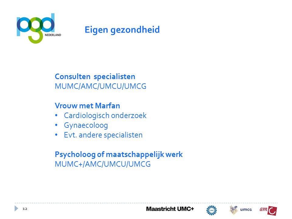 12 Consulten specialisten MUMC/AMC/UMCU/UMCG Vrouw met Marfan Cardiologisch onderzoek Gynaecoloog Evt.