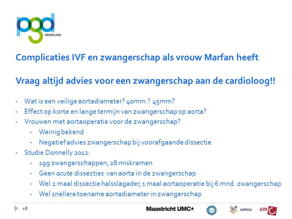 18 Complicaties IVF en zwangerschap als vrouw Marfan heeft Vraag altijd advies voor een zwangerschap aan de cardioloog!.