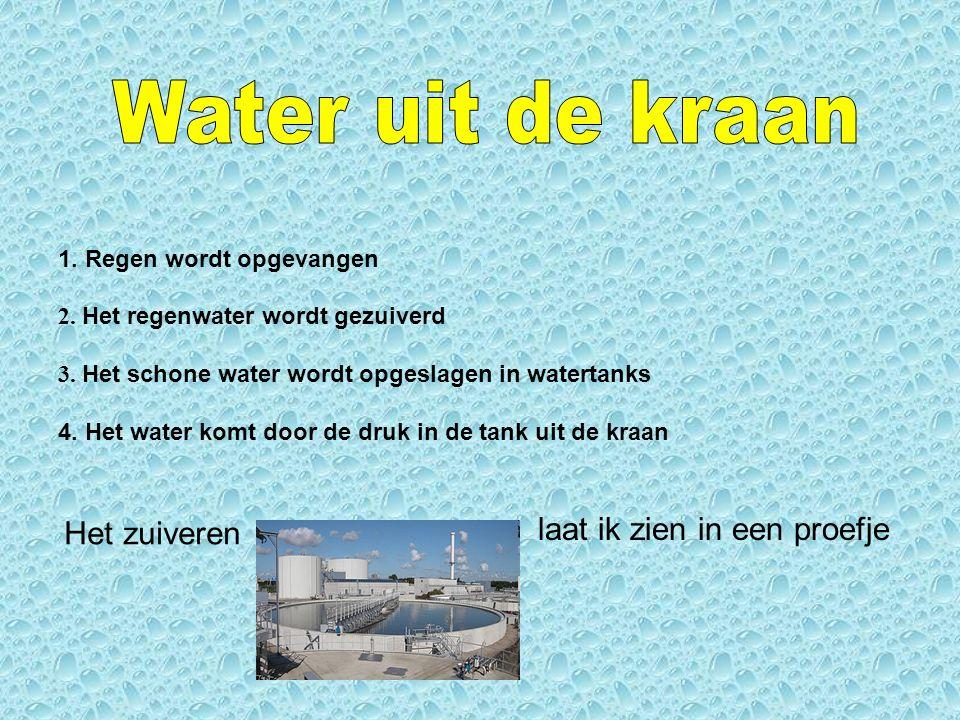 Water kan drie vormen aannemen: - Gas (waterdamp) - Vast (bevroren water) - Vloeibaar (water uit de kraan)