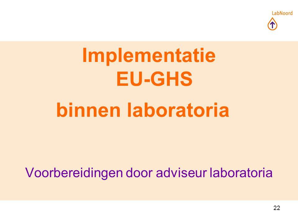22 Implementatie EU-GHS binnen laboratoria Voorbereidingen door adviseur laboratoria
