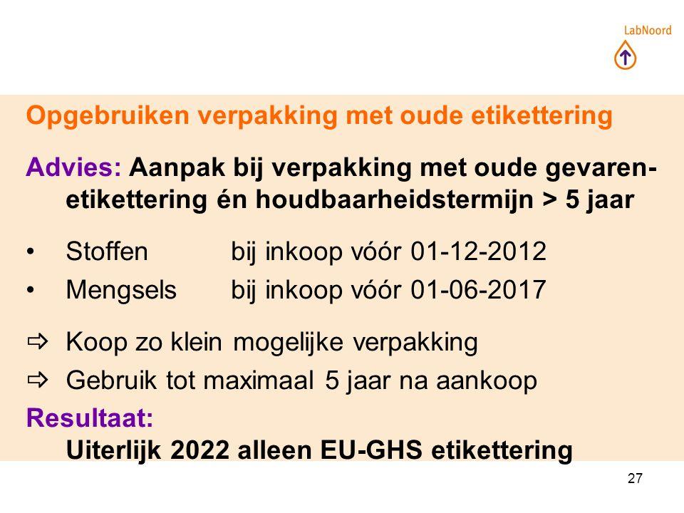 27 Opgebruiken verpakking met oude etikettering Advies: Aanpak bij verpakking met oude gevaren- etikettering én houdbaarheidstermijn > 5 jaar Stoffenbij inkoop vóór 01-12-2012 Mengselsbij inkoop vóór 01-06-2017  Koop zo klein mogelijke verpakking  Gebruik tot maximaal 5 jaar na aankoop Resultaat: Uiterlijk 2022 alleen EU-GHS etikettering