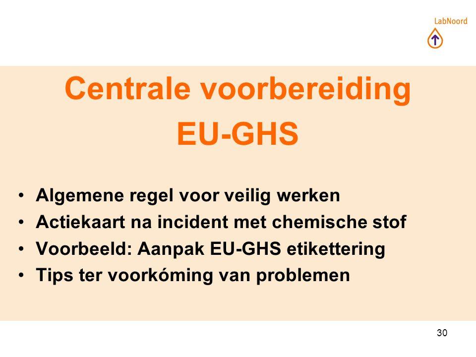 30 Centrale voorbereiding EU-GHS Algemene regel voor veilig werken Actiekaart na incident met chemische stof Voorbeeld: Aanpak EU-GHS etikettering Tips ter voorkóming van problemen
