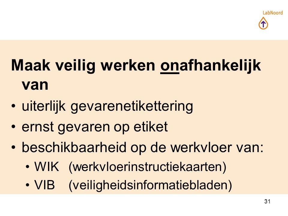 31 Maak veilig werken onafhankelijk van uiterlijk gevarenetikettering ernst gevaren op etiket beschikbaarheid op de werkvloer van: WIK(werkvloerinstructiekaarten) VIB(veiligheidsinformatiebladen)