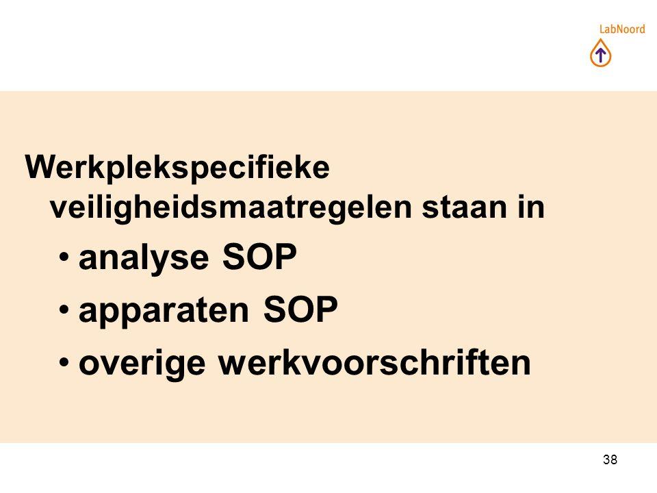 38 Werkplekspecifieke veiligheidsmaatregelen staan in analyse SOP apparaten SOP overige werkvoorschriften