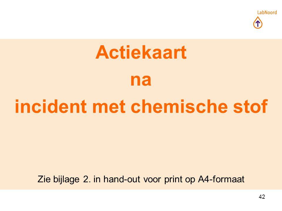42 Actiekaart na incident met chemische stof Zie bijlage 2. in hand-out voor print op A4-formaat