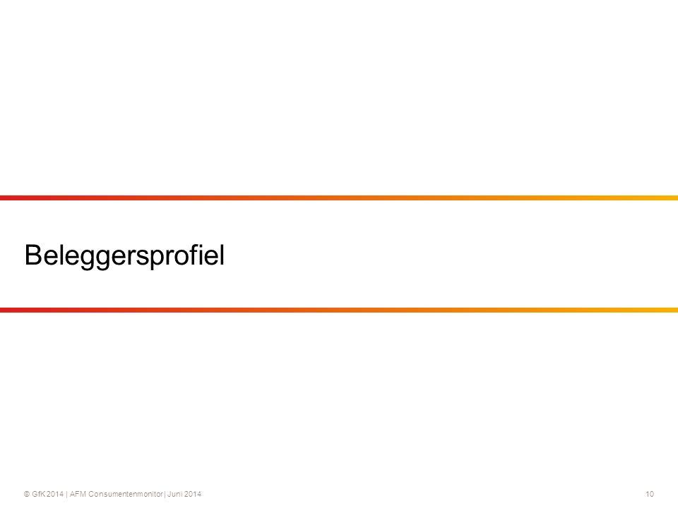 © GfK 2014 | AFM Consumentenmonitor | Juni 201410 Beleggersprofiel